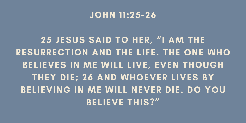 Jesus said to her I am the resurrection and the life The one who believes in me will live even though they die